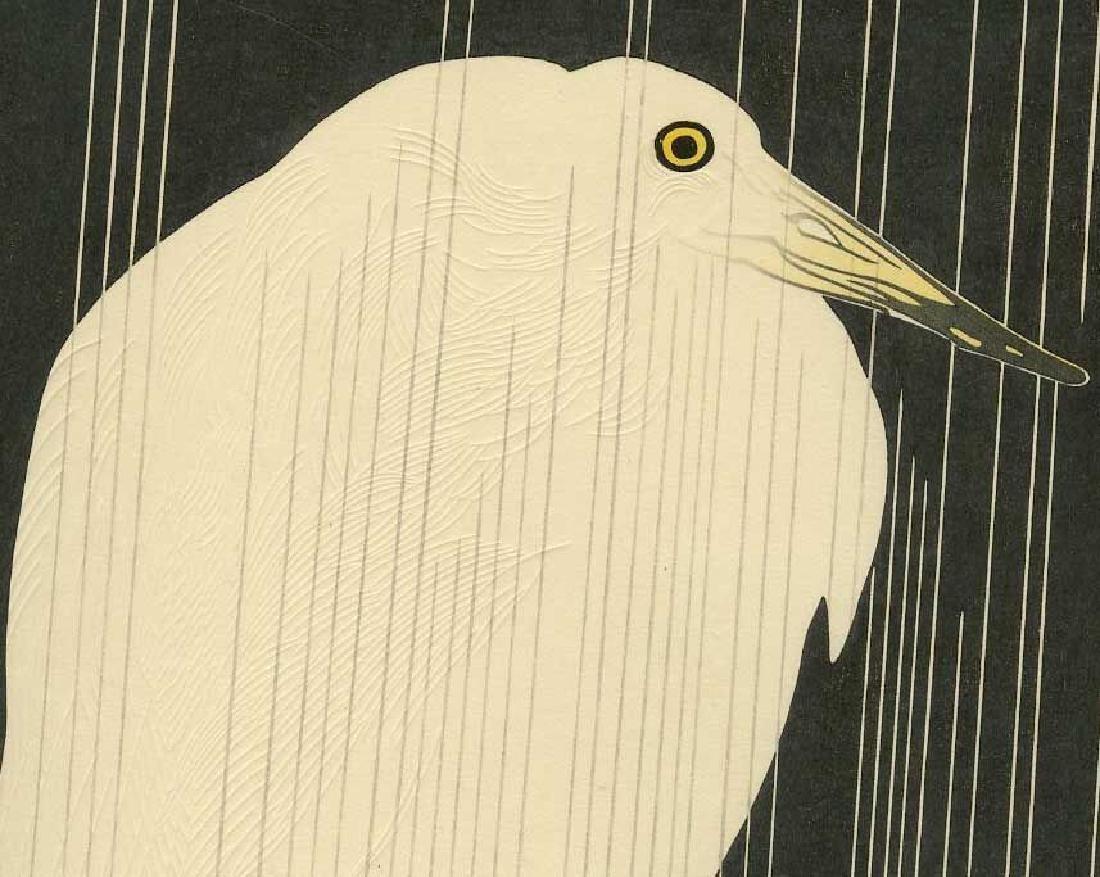 Tekiho Imoto Woodblock Heron in the Rain - 2