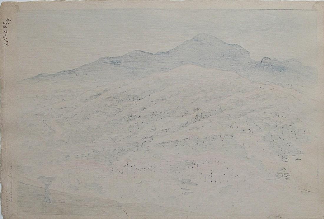 Shinsui Woodblock Twelve Views of Oshima, Hazy Sun - 2