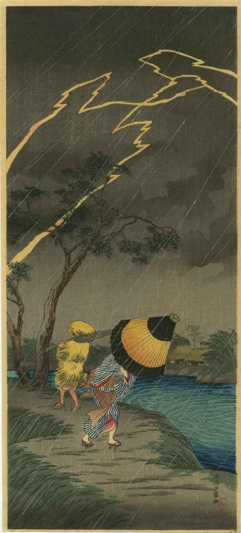 Shotei Takahashi (Hiroaki) Woodblock Thunderstorm at