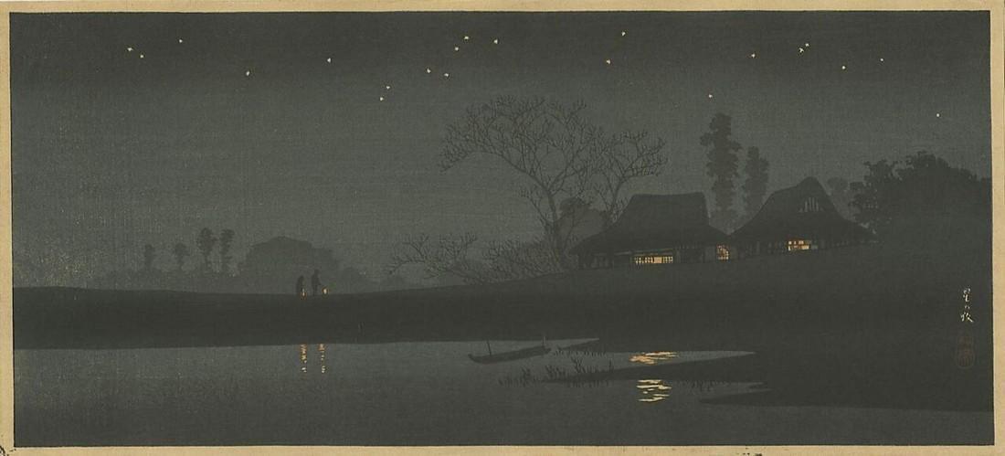 Shotei Takahashi (Hiroaki) Woodblock A Starlit Night