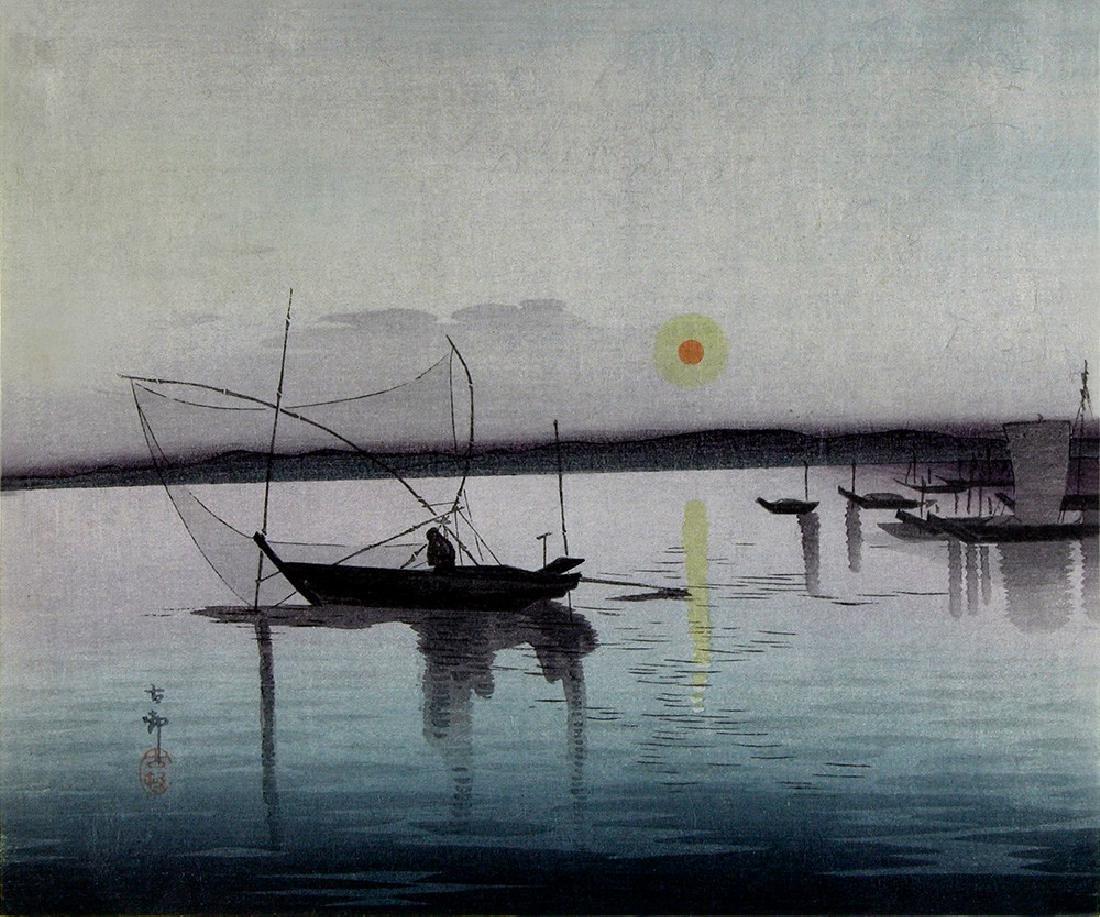 KOSON, Ohara Woodblock Fishing boats at sunset