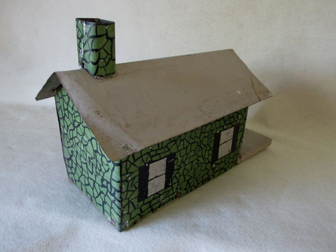 Antique Folk Art Tin Bird House, Miniature Building