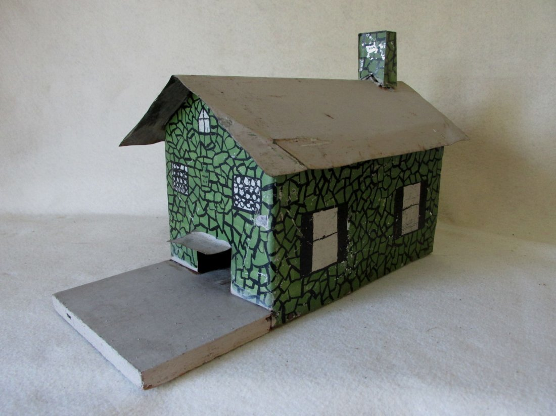 Antique Folk Art Tin Bird House, Miniature Building - 4