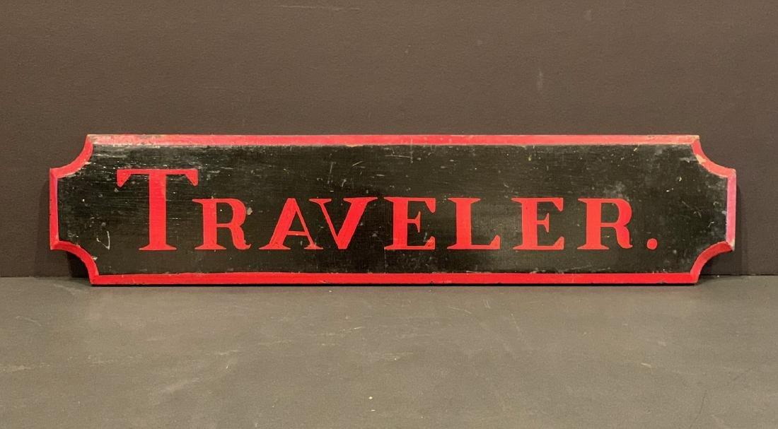 TRAVELER horse stall sign, c. 1900