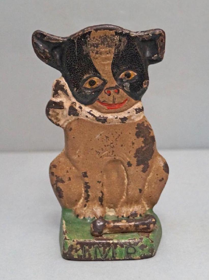 """Boston Terrier """"IMP"""" Hubley Doorstop Dated 1921"""