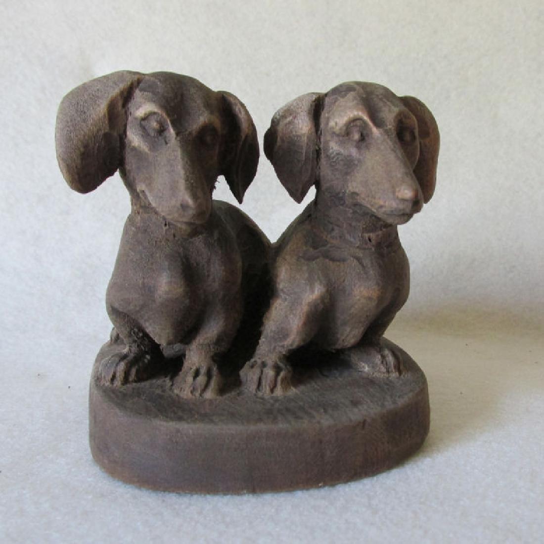 Vintage Folk Art Wood Carving of Dachshund Dogs