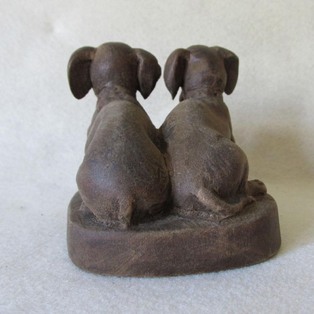 Vintage Folk Art Wood Carving of Dachshund Dogs - 3