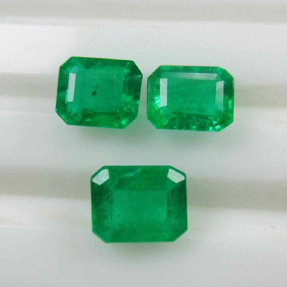 3.18 Ct Genuine Zambian Emerald Matching Octagon Set