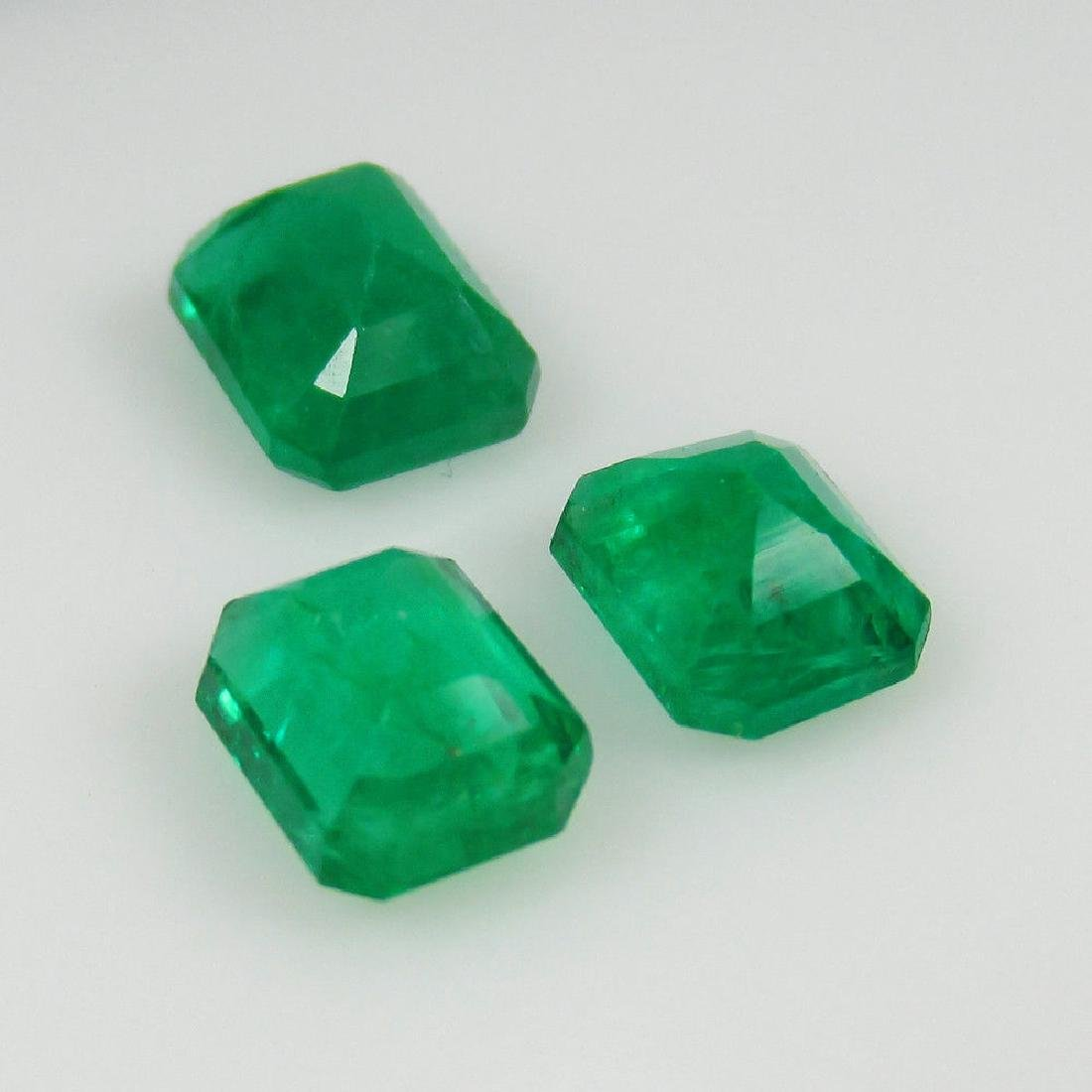 3.18 Ct Genuine Zambian Emerald Matching Octagon Set - 2