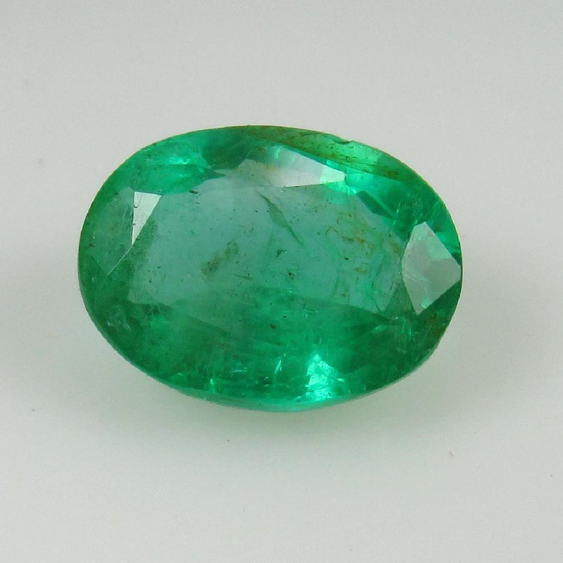 1.79 Ct Genuine Zambian Emerald Nice Oval Cut - 2