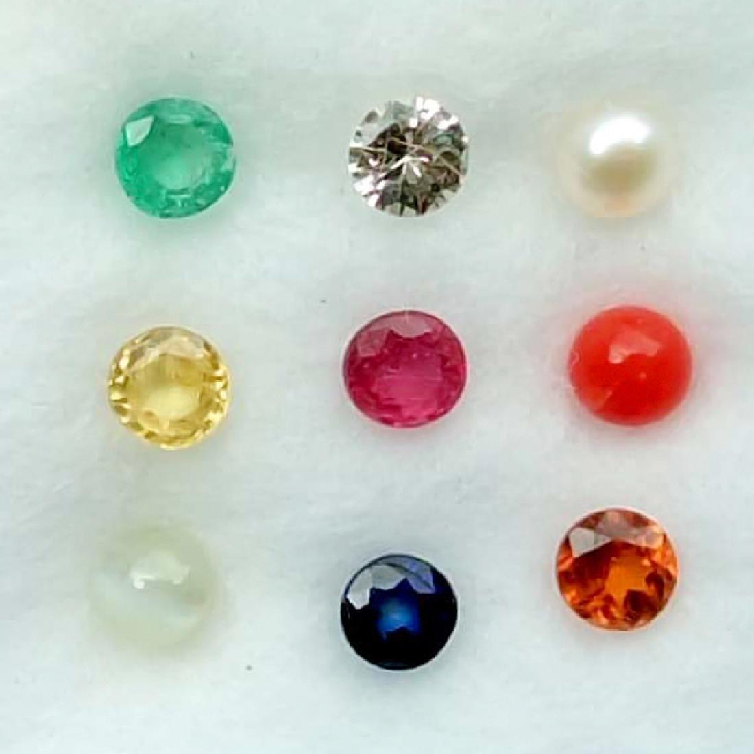 Calibrate 3 mm Round Natural Navratna 9 Gemstones Set - 2