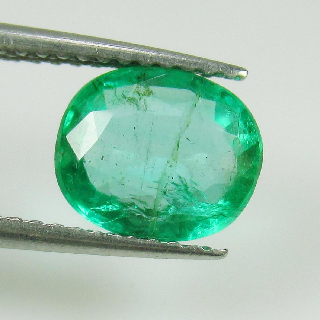 1.57 Ct Genuine Zambian Emerald 8.5x7 mm Oval Cut