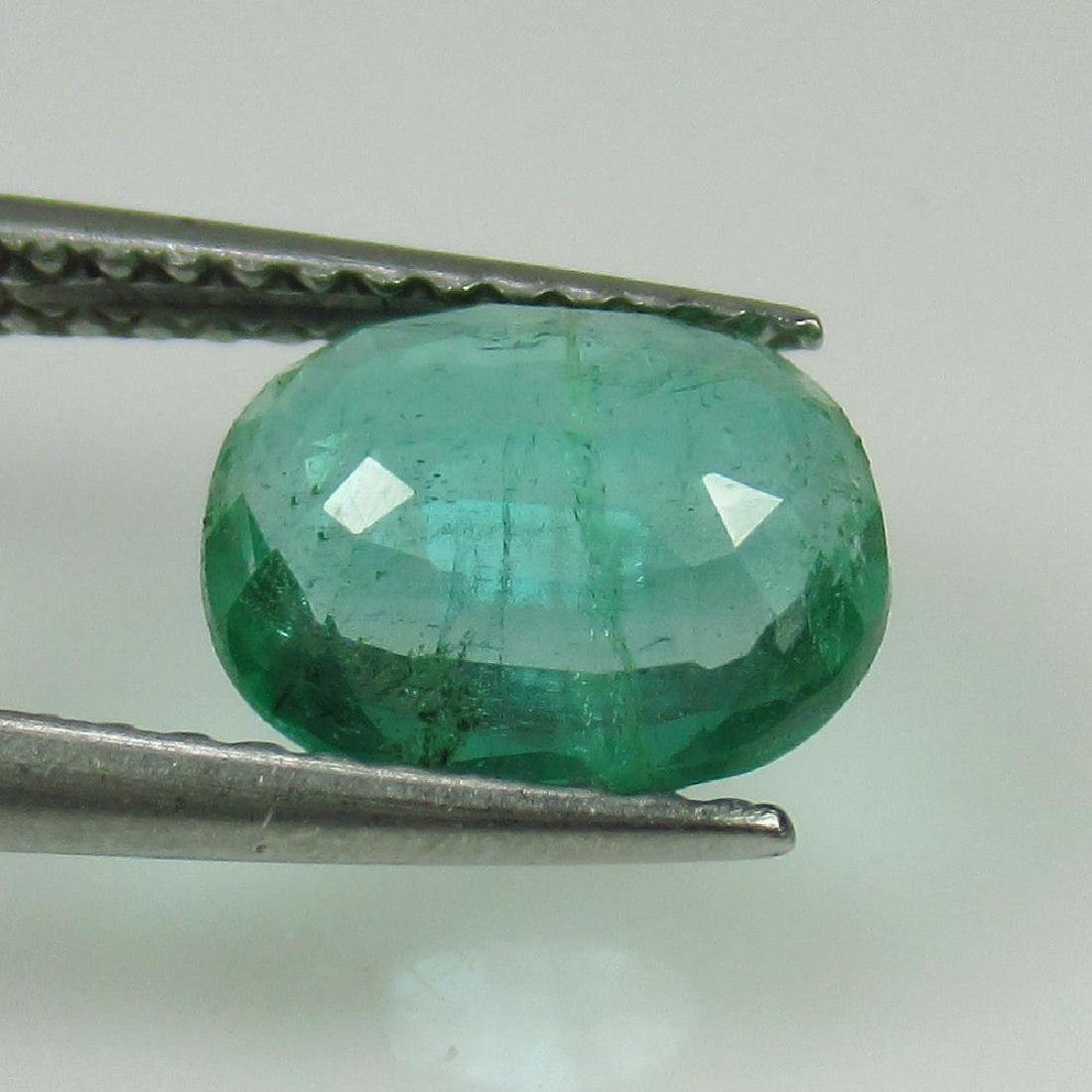 1.57 Ct Genuine Zambian Emerald 8.5x7 mm Oval Cut - 2
