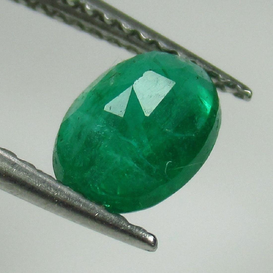 1.04 Ct Genuine Zambian Emerald 7.5X5.5 mm Oval Cut - 2