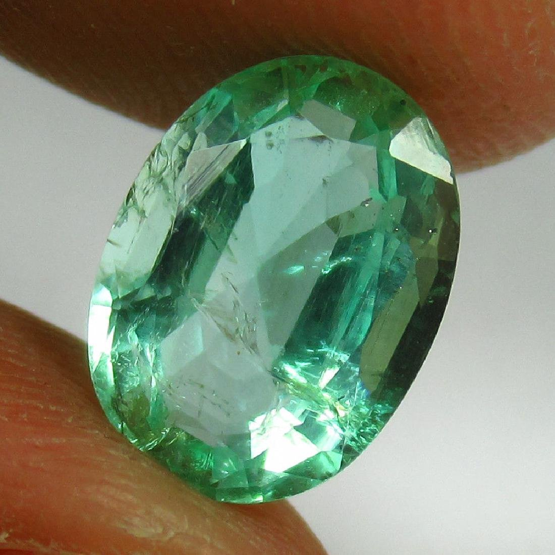 1.65 Ct Genuine Zambian Emerald Nice Oval Cut