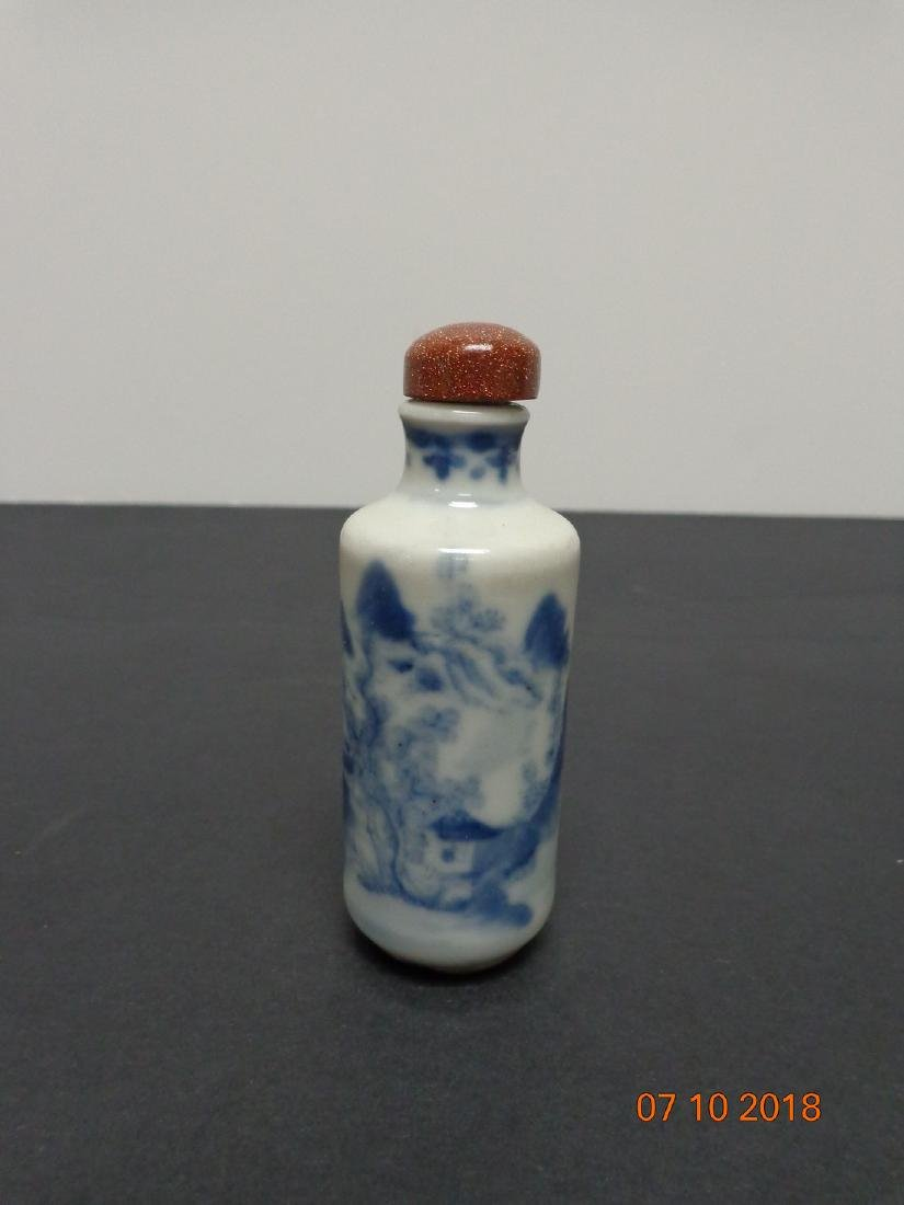 Antique Chinese Blue and White Ceramic Snuff Bottle