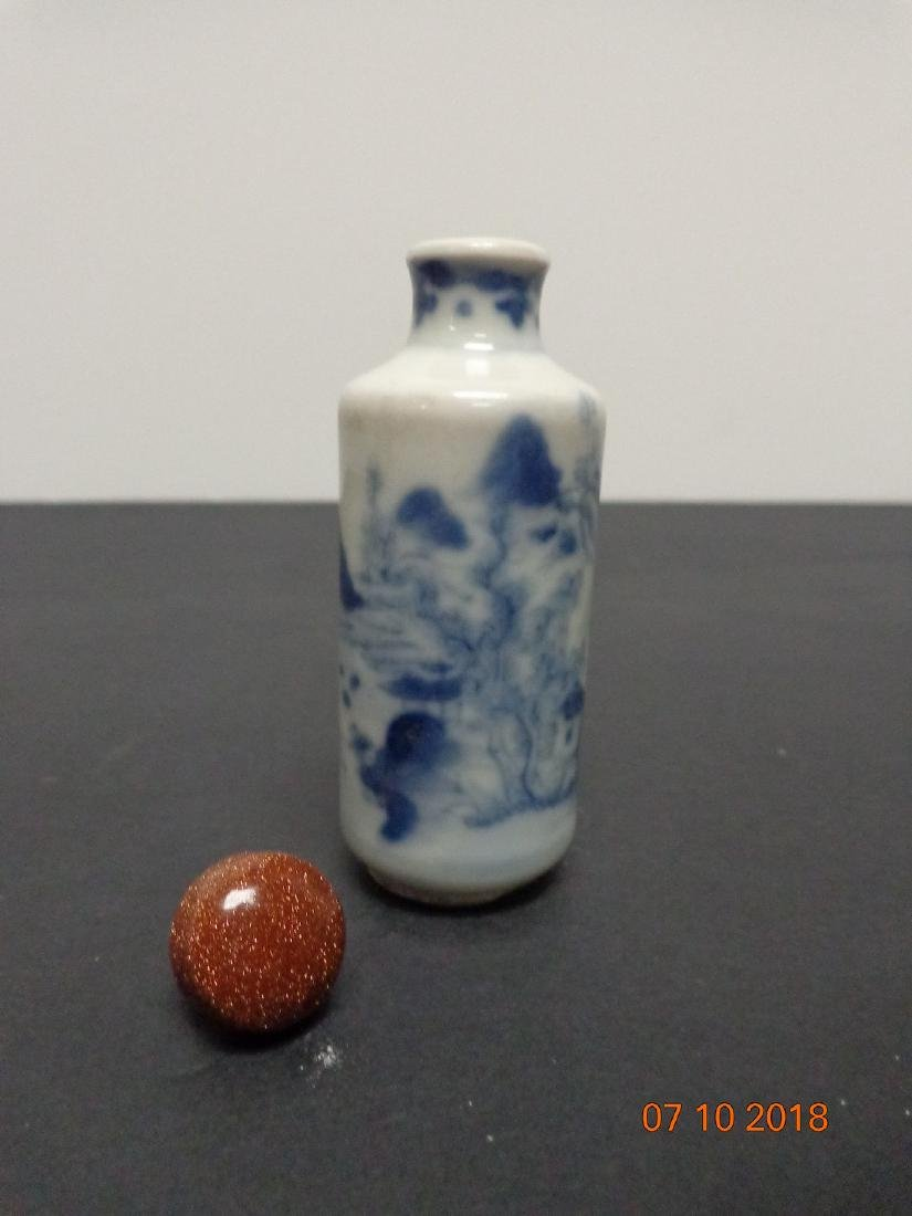 Antique Chinese Blue and White Ceramic Snuff Bottle - 6