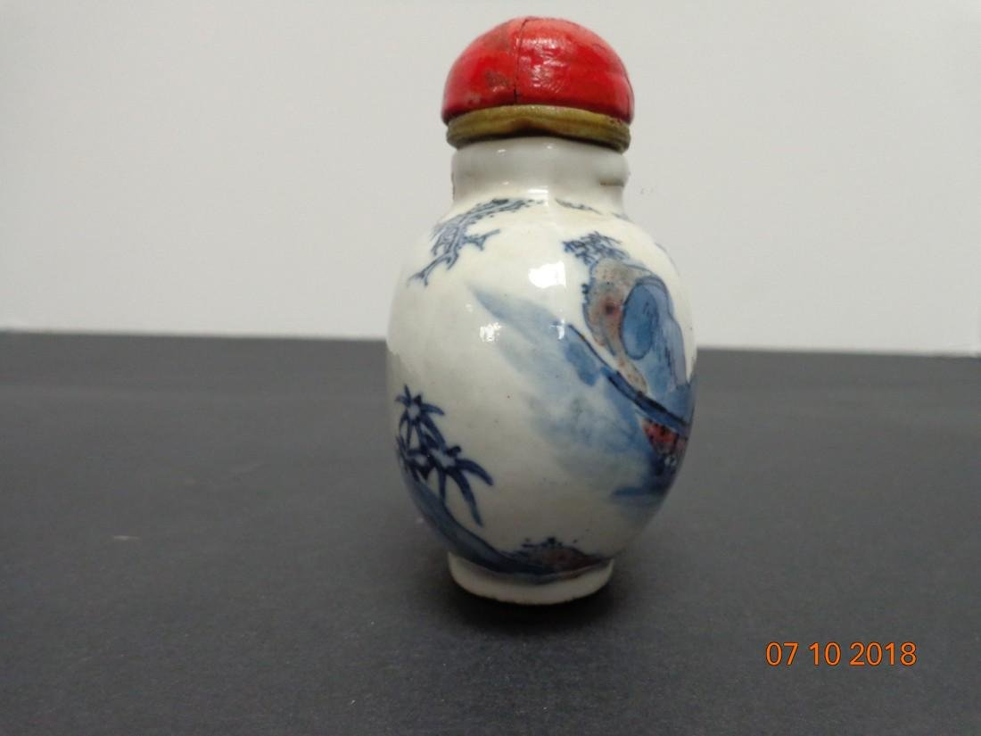 Large Antique Chinese Blue & White Ceramic Marked Snuff - 2