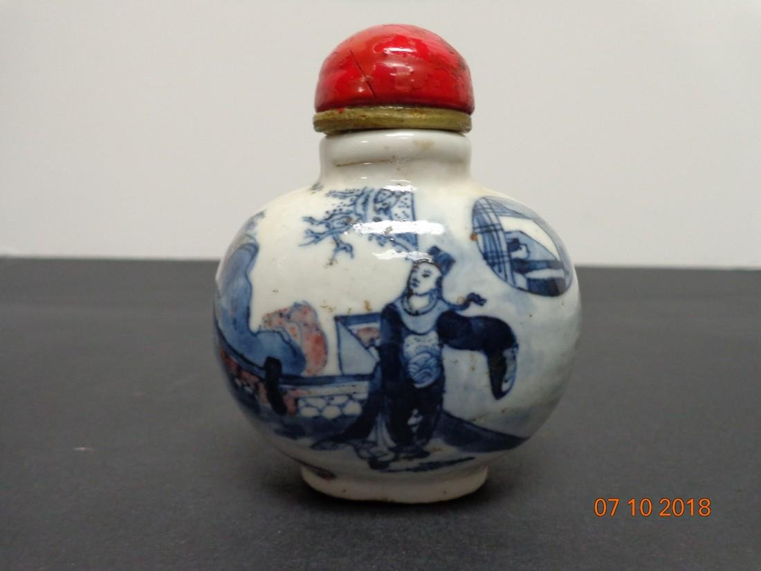 Large Antique Chinese Blue & White Ceramic Marked Snuff - 3