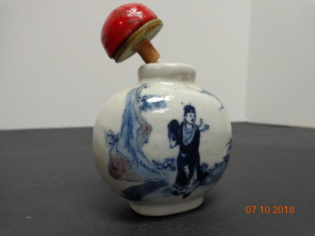 Large Antique Chinese Blue & White Ceramic Marked Snuff - 5