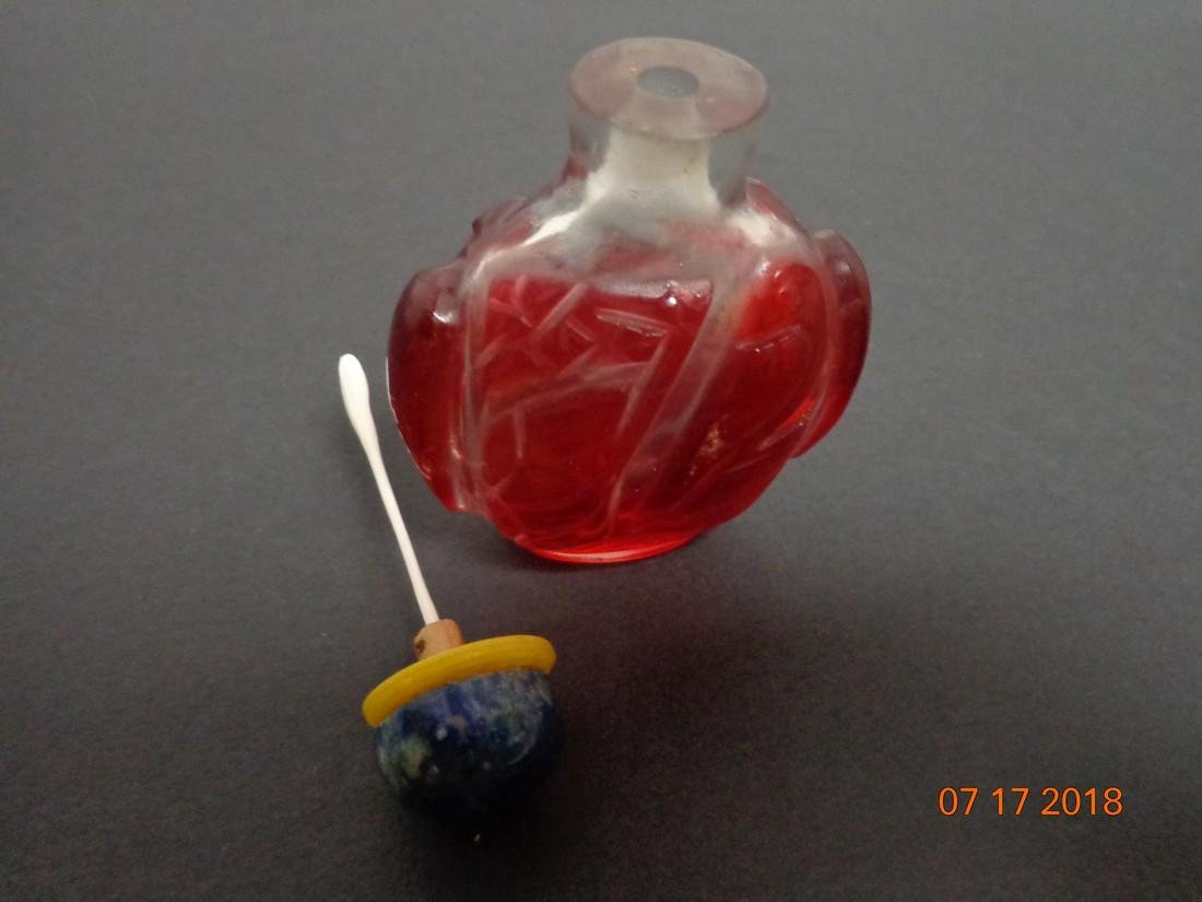 Antique Chinese Glass Snuff Bottle with Red Tree Frogs - 6