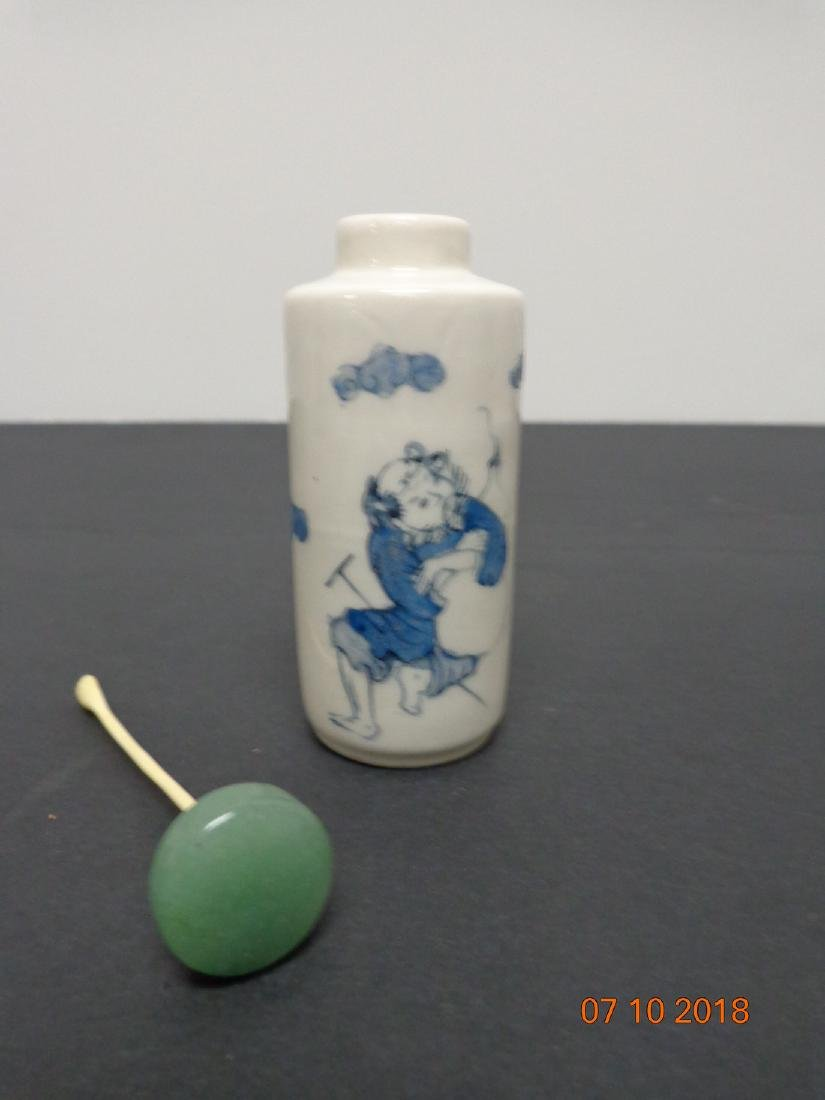 Antique Chinese Blue & White Ceramic Snuff Bottle with - 6