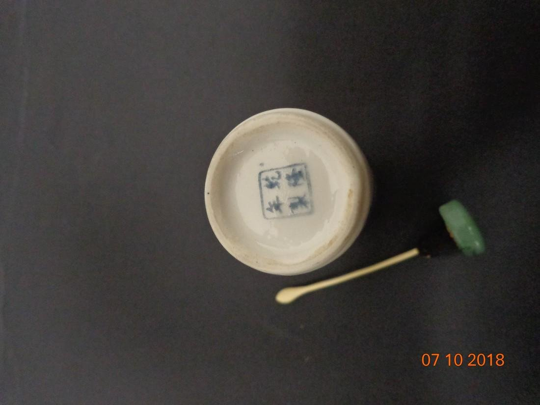 Antique Chinese Blue & White Ceramic Snuff Bottle with - 9