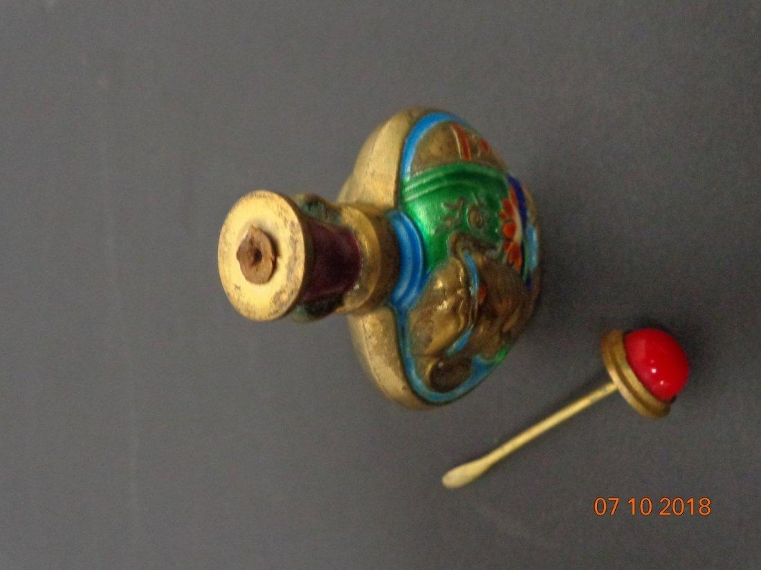 Antique Chinese Metal Enamel Painted Elephant Motif - 6