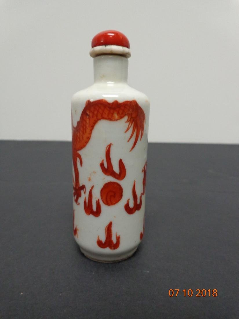 Antique Chinese Orange Painted Dragon Snuff Bottle with - 3