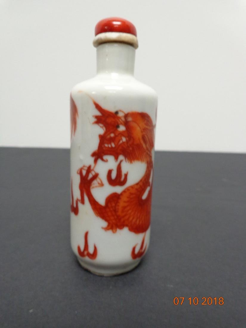 Antique Chinese Orange Painted Dragon Snuff Bottle with - 4