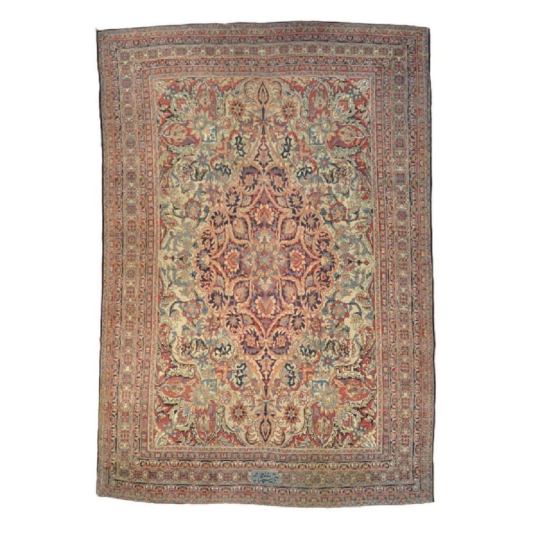 Persian Handmade Oversize Signed Antique Lavar Kerman