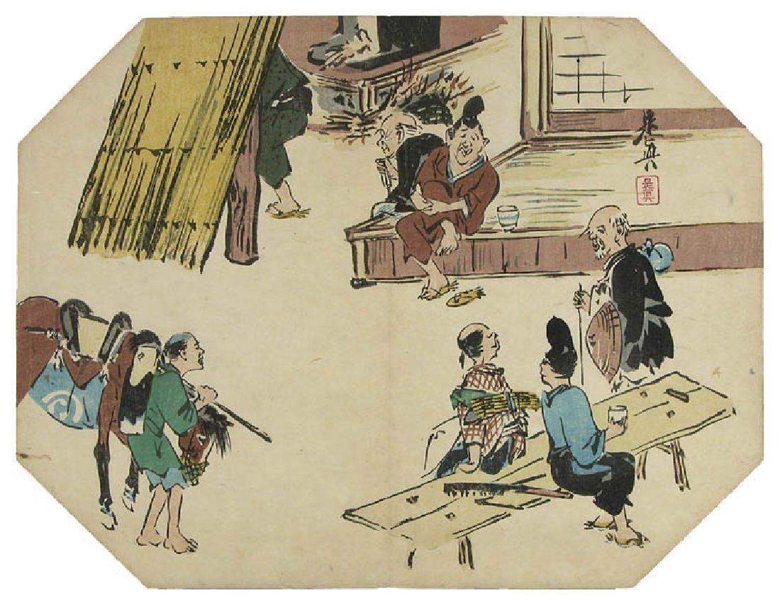 Shibata ZESHIN Woodblock Tea-house in the countryside-