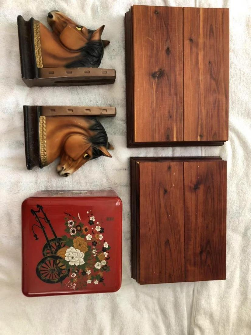 a set of book holders and 2 wood boxes and a jewelry