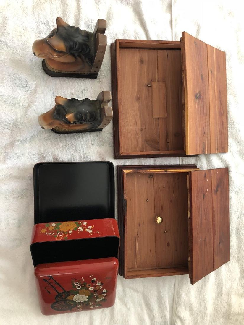 a set of book holders and 2 wood boxes and a jewelry - 2