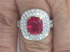 4.76 CTS UNHEATED UNTREATED RUBY and DIAMOND RING 18K