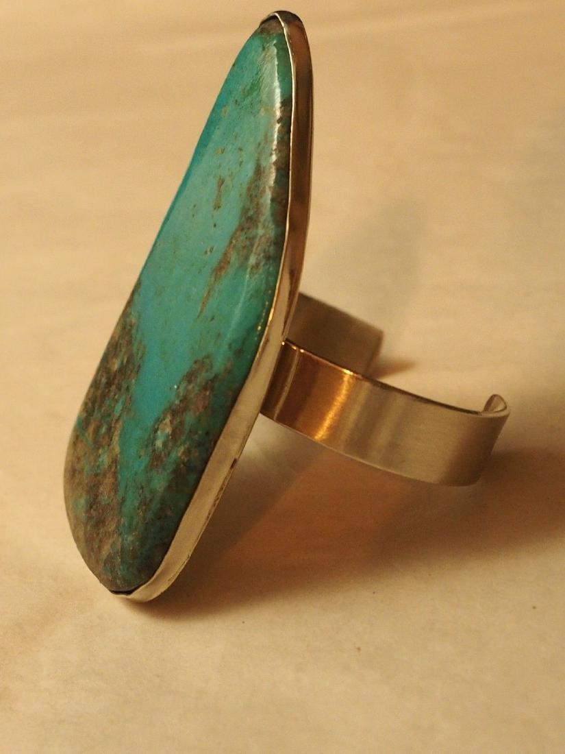 Large Navajo Freeform Turquoise Cabochon CUff Bracelet - 3