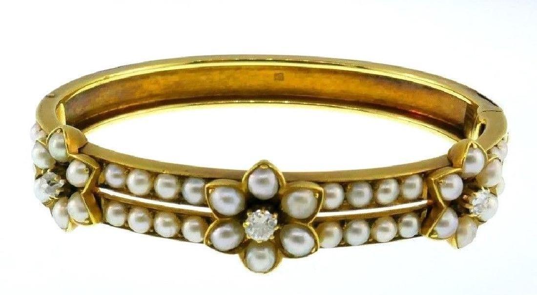 Vintage 18k Yellow Gold Diamond Natural Pearl Bracelet