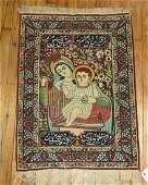 Antique Persian Lavar Kerman Pictorial Rug Size