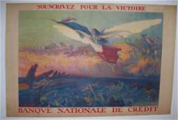 WWI Vintage french Poster Richard GUTZ Banque Nationale
