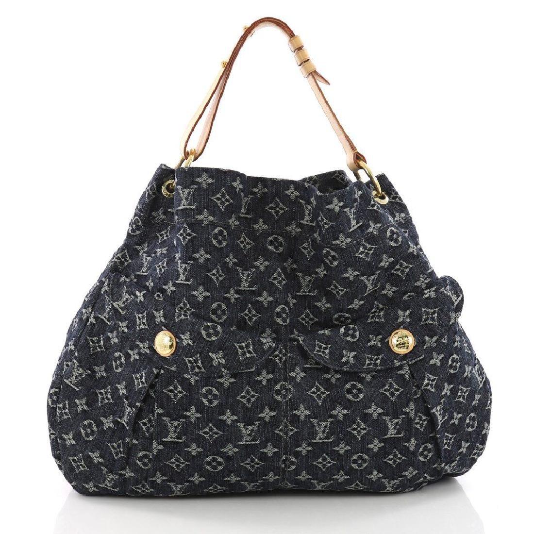 Louis Vuitton Daily Gm Jean Gris Bleu Denim Hobo Bag