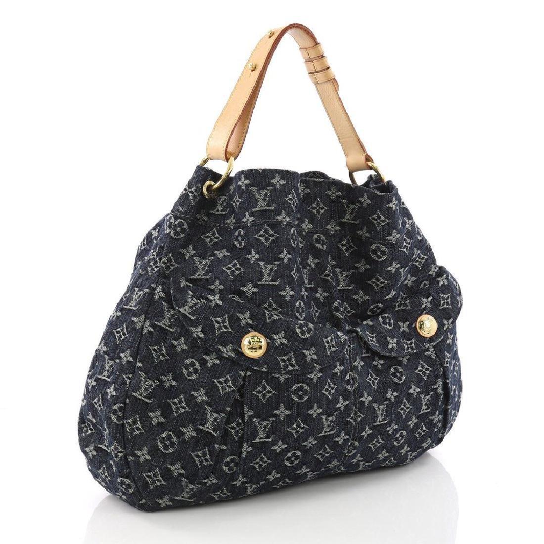 Louis Vuitton Daily Gm Jean Gris Bleu Denim Hobo Bag - 3