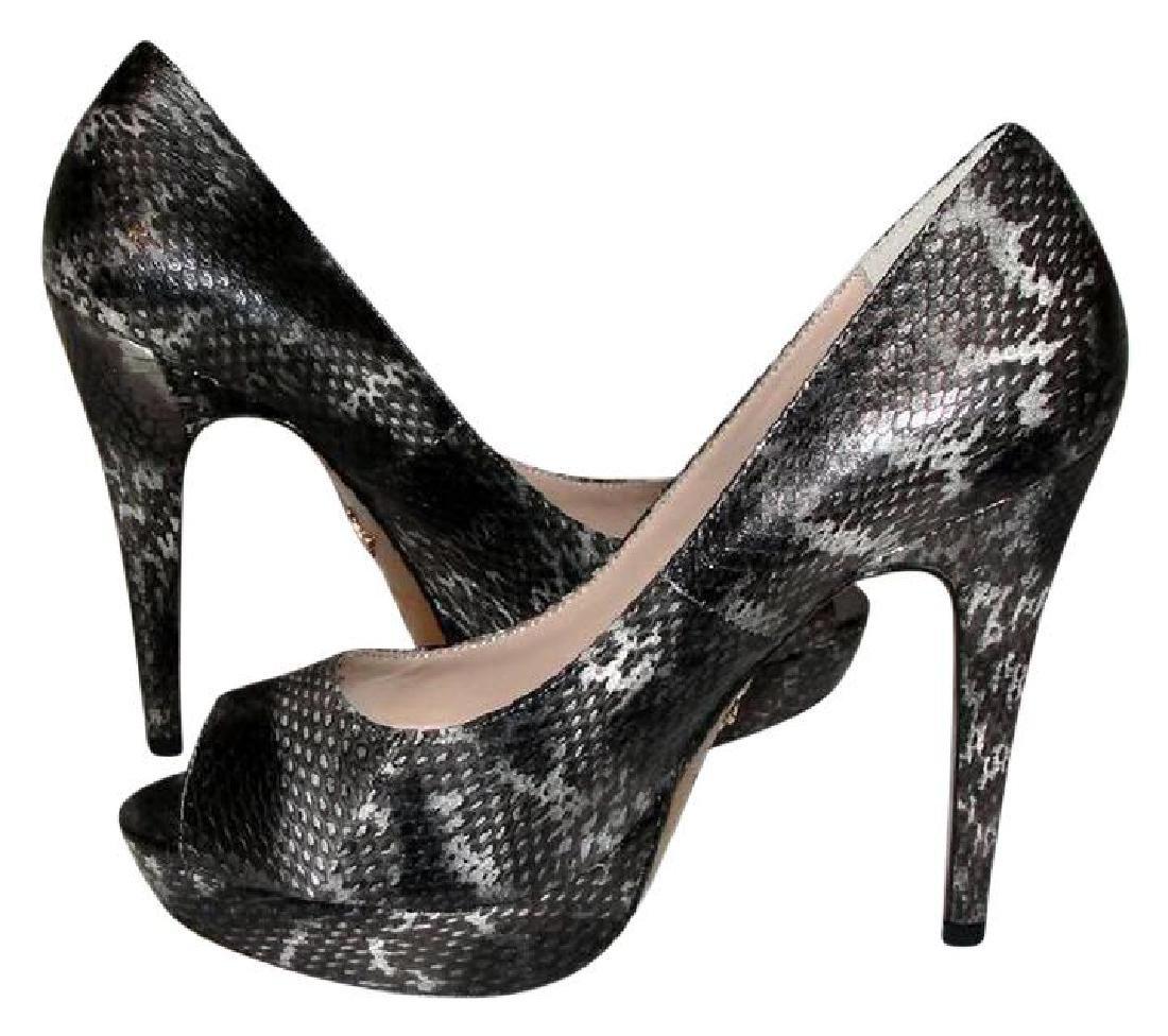 Pour La Victoire Black Snake Skin Peep Toe Pumps Size