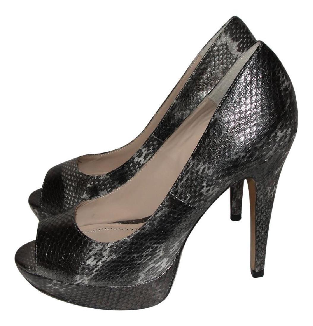 Pour La Victoire Black Snake Skin Peep Toe Pumps Size - 2