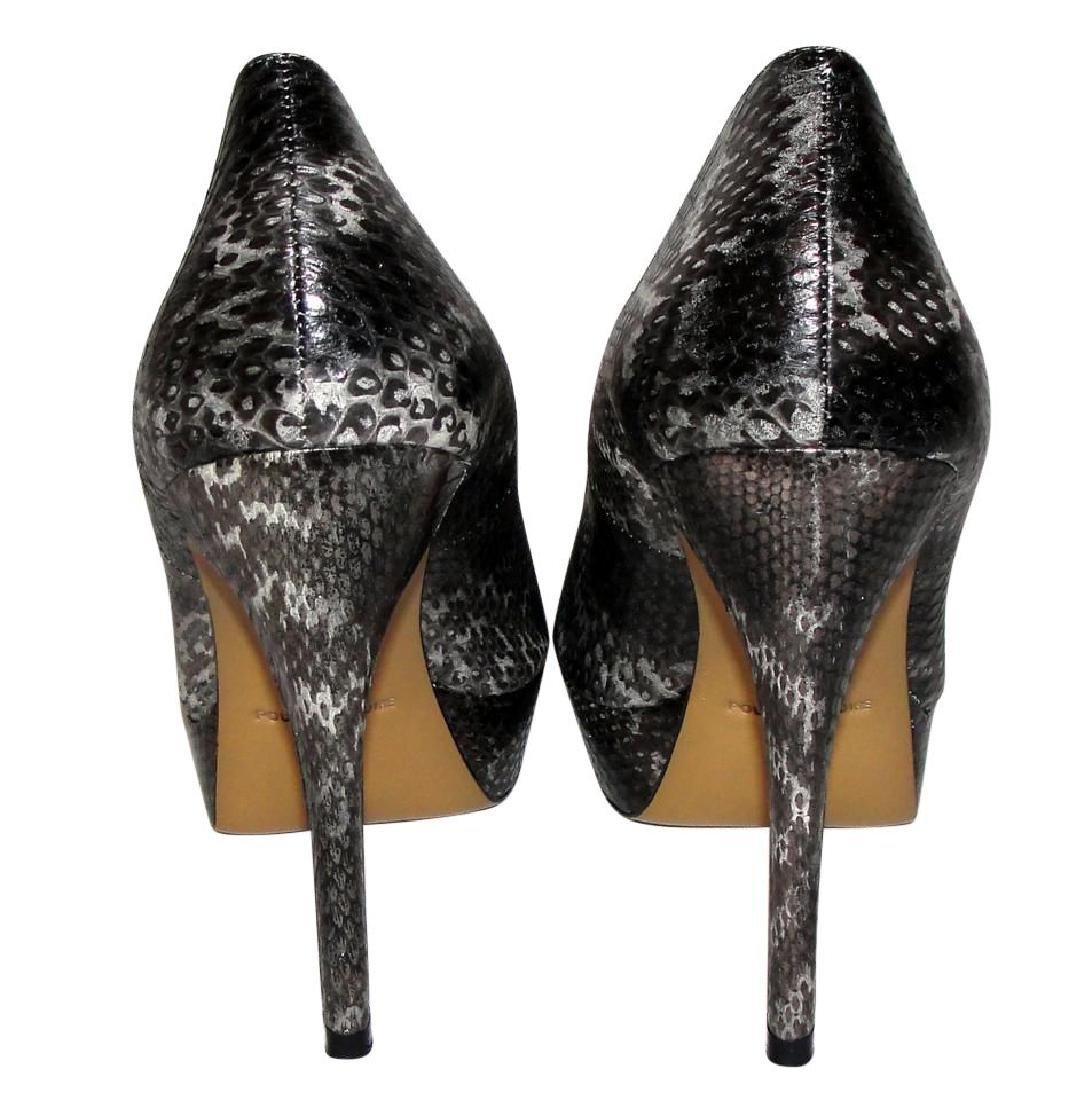 Pour La Victoire Black Snake Skin Peep Toe Pumps Size - 4
