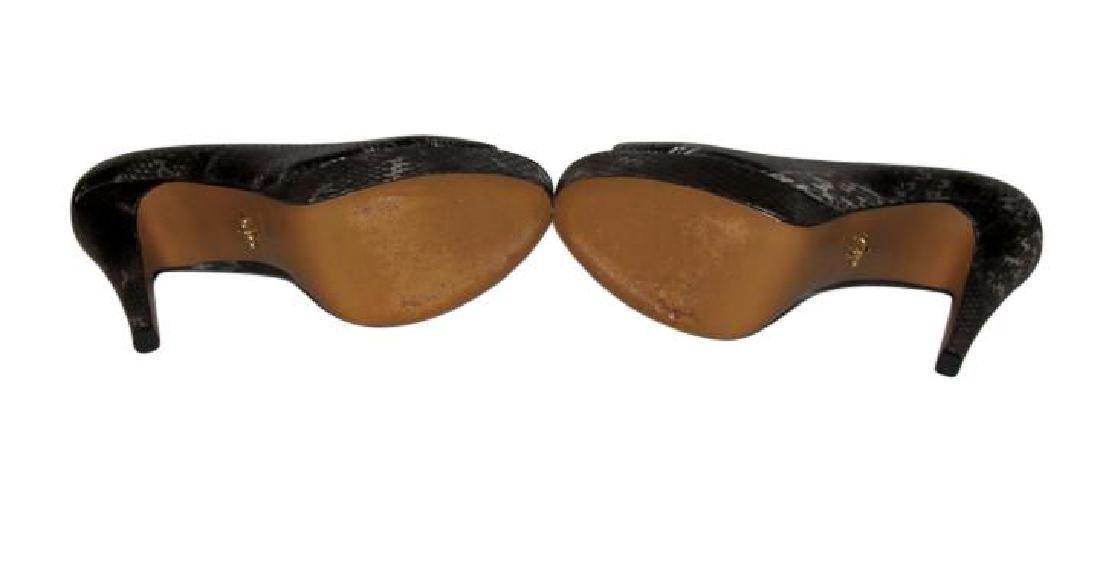 Pour La Victoire Black Snake Skin Peep Toe Pumps Size - 7