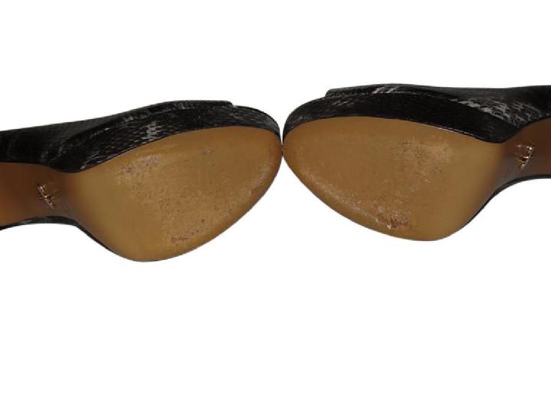 Pour La Victoire Black Snake Skin Peep Toe Pumps Size - 8