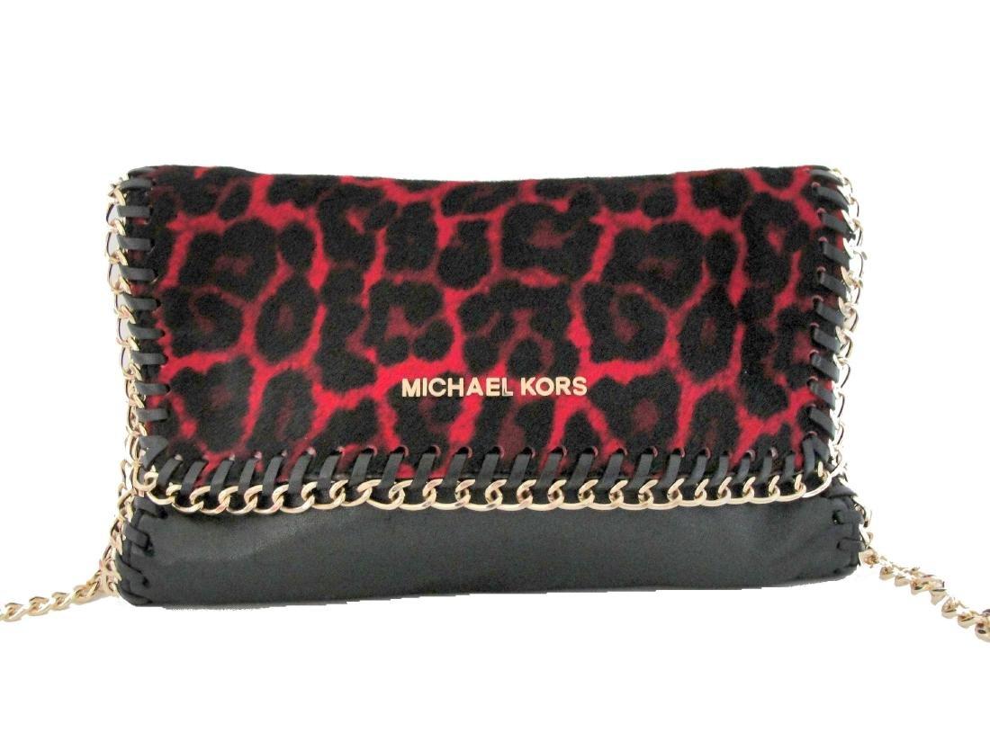 Michael Kors Cross Body Bag Red Black Fur Chain - 2
