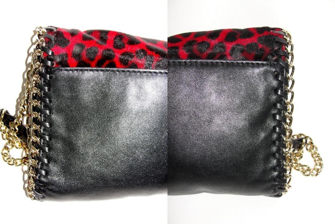 Michael Kors Cross Body Bag Red Black Fur Chain - 7