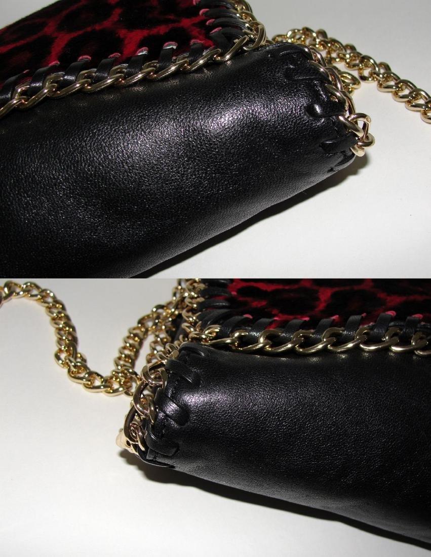 Michael Kors Cross Body Bag Red Black Fur Chain - 8
