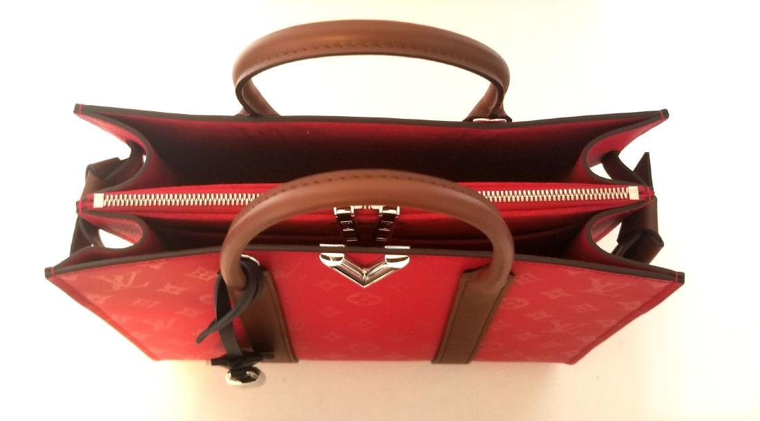 Authentic Louis Vuitton Very Tote Red Monogram Leather - 7